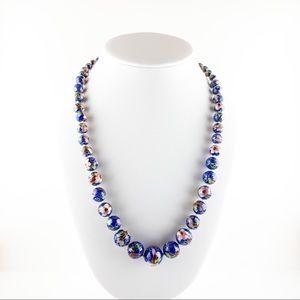 Vintage Knotted Enamel Cloisonné Beaded Necklace